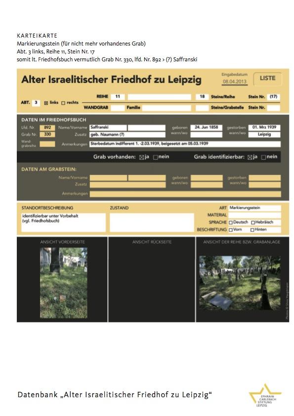 """Datenbank """"Alter Israelitischer Friedhof zu Leipzig"""""""